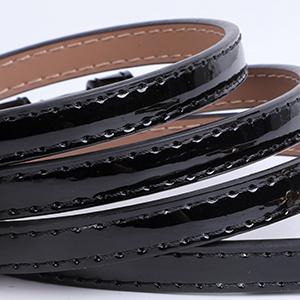 patent leather skinny strap belt