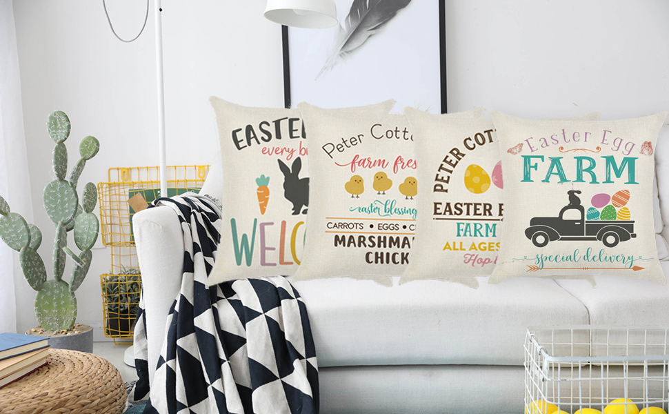 happy easter throw pillow covers