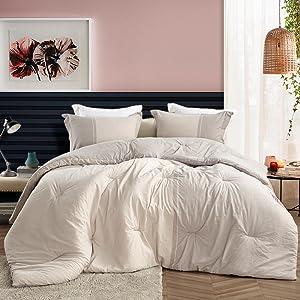 Stylish Stripe Light Gray Bed Style Extra Long Large Oversized Comforter Bedding Fluffy Plush Warm