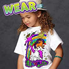 Unicorn Tshirt, Unicorn colouring, washable colouring markers, Unicorn gifts for girls, Splat planet