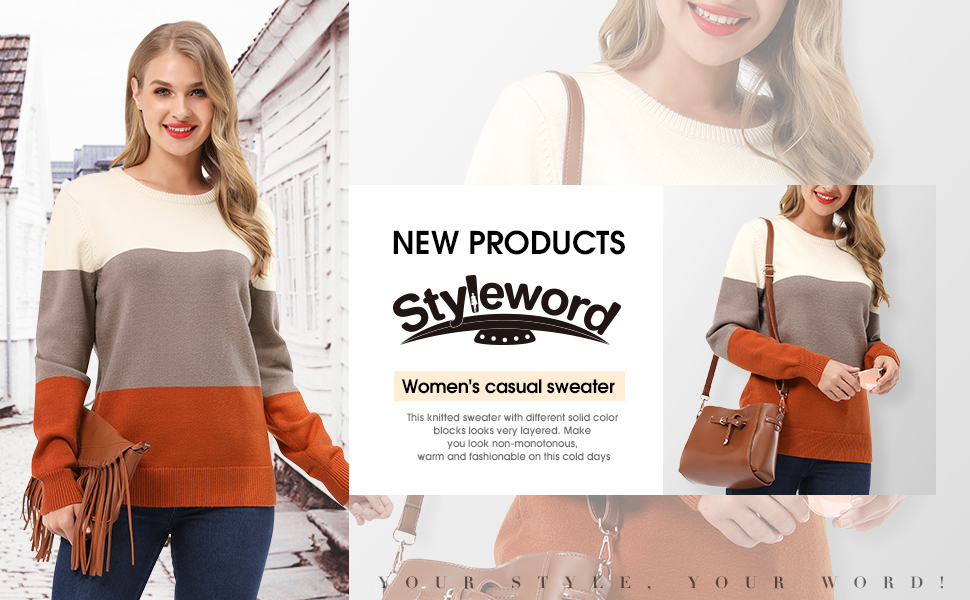 STYLEWORD Women's Casual Long Sleeve Crew Neck Colorblock Pullover Sweaters Top