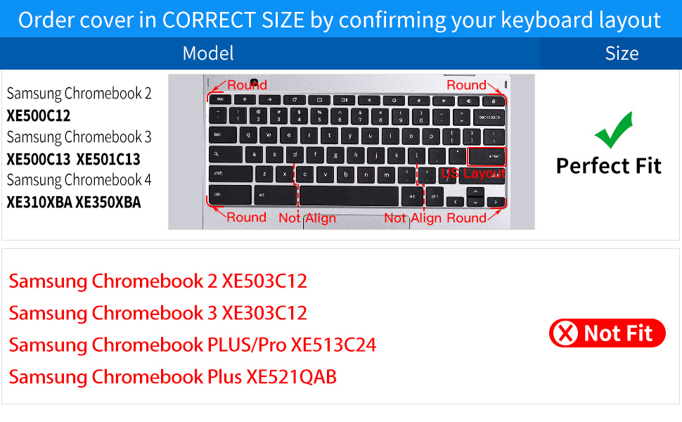 Keyboard Cover for Chromebook Plus V2 XE520QAB XE521QAB 12.2