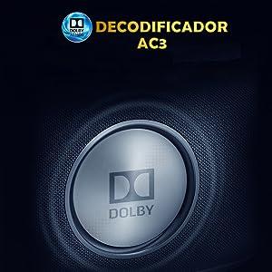 decodificador dolby ac3, digital, luximagen fuhd230, 10w, sonido estereo, envolvente, sorround