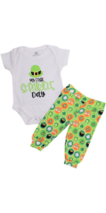 Unique Baby Girls 1st St Patricks Day Moms Lucky Charm Layette Set