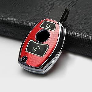 Ontto Smart Autoschlüssel Abdeckung Tasche 3 Tasten Aluminiumlegierung Autoschlüssel Hülle Schlüsselschutz Mit Schlüsselanhänger Für Mercedes Benz A C E S Gla Glc Glk Cla Cls Amg Klasse Siber B Auto