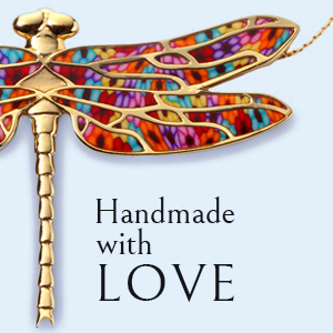 Close up of dragonfly necklace to show the high quality jewelry made, captioned handmade with love