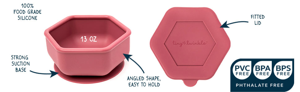 tiny twinkle, silicone bowl, tiny twinkle bowl, silicone suction bowl, silicone bowl with lid