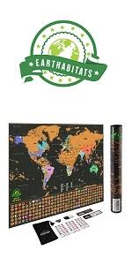Earthabitats Scratch Off World Map
