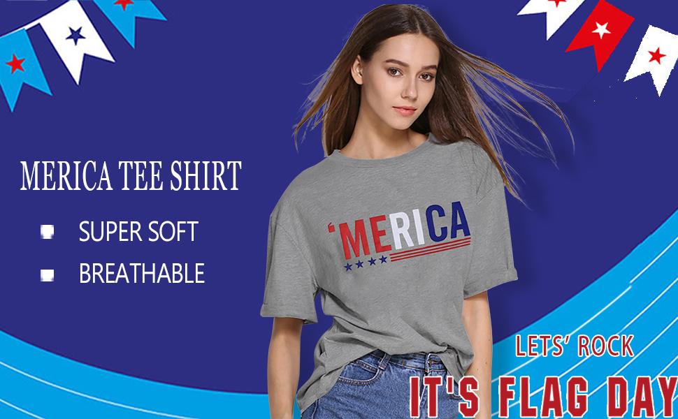 American Flag Tee Shirts for Women Short Sleeve USA American Flag Print Graphic Tee Shirts