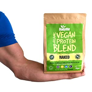 BodyMe Organic Vegan Protein Powders Blend or Plant Based Low Carb Vegan Protein Powder - Be Strong
