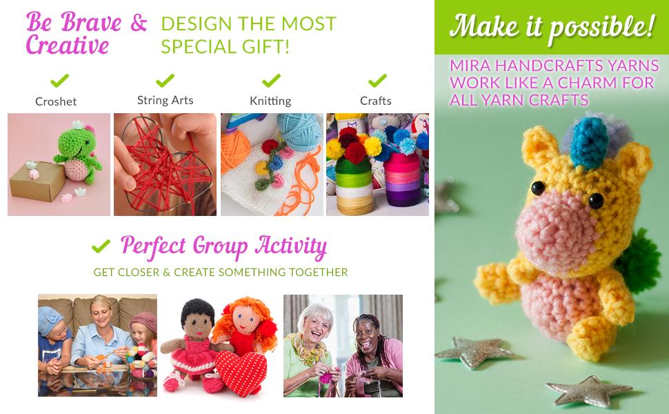 acrylic yarn, crochet hooks, knitting, pompoms, amigurumi, craft kits, kids crafts, string art