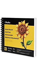 """Marker Pads Art Sketchbook, Ohuhu 8.9""""×8.3"""", 120 LB/200 GSM 60 Sheets/120 Pages"""