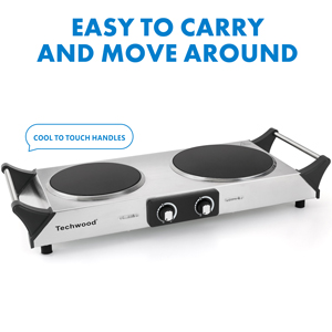 Double burner hot plate cookware