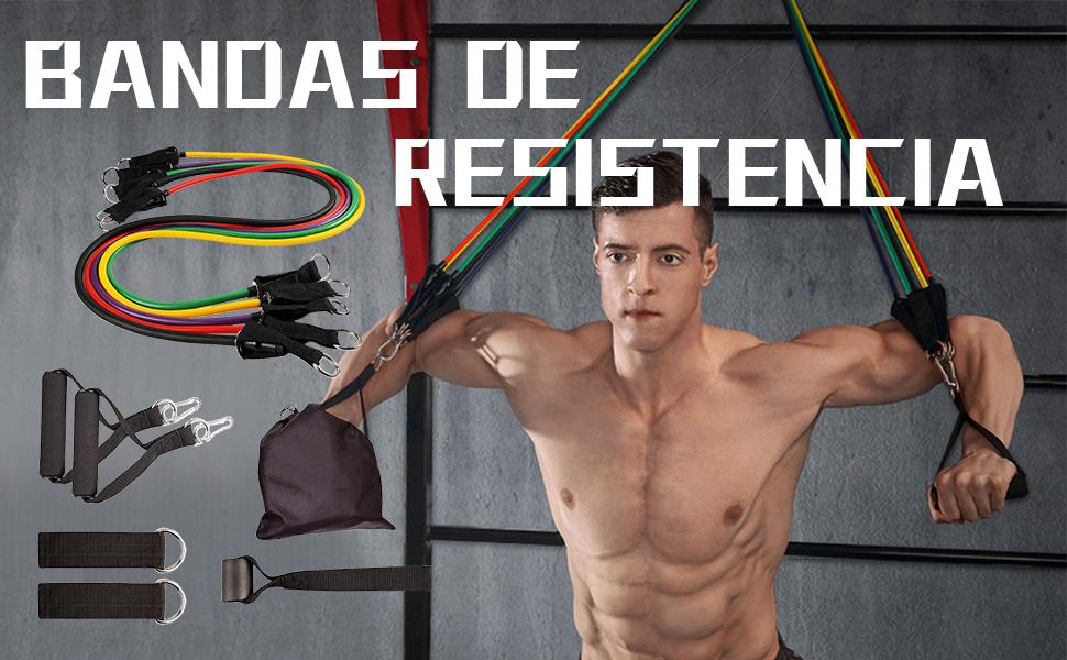 ZoneYan Juego de Bandas de Resistencia, Cuerda Elástica Multicolor Kit, 11 Tubos de Resistencia Apilables, Conjunto de Tubos de Ejercicios, con ...
