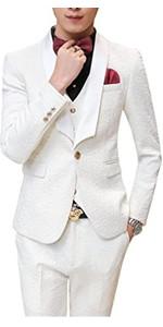 MOGU Mens New Casual Slim Fit Skinny Dress Suits 3 Piece