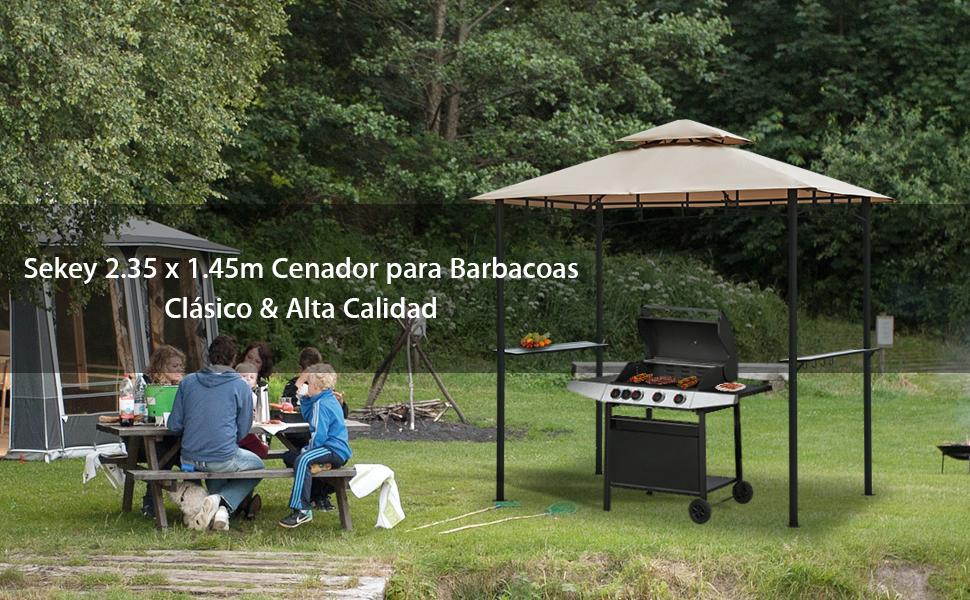 Sekey Cenador para Jardin Impermeable Carpa de Jardín de 235 x 145cm, Pabellón de Jardín para Parrillas/Fiestas/Picnics/Barbacoas, UV50+, Taupe: Amazon.es: Hogar