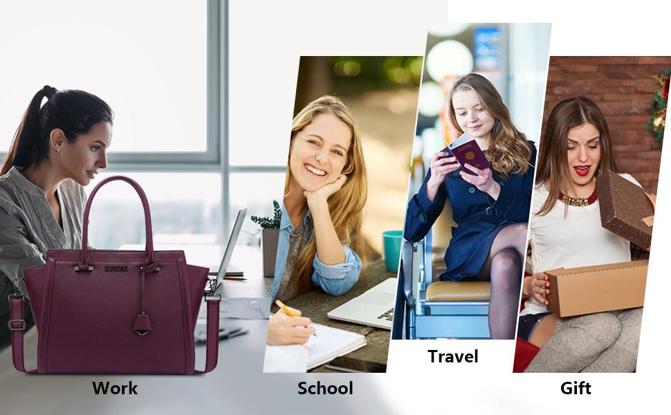Boho Chic Watercolor Burgundy Pink Flowers Waterproof Laptop Tote Bag for 17 Inch Laptop for Men Woman School /& Work