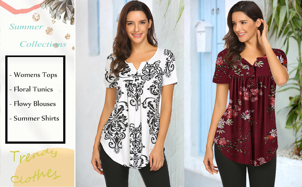 women's plus size casual tunic tops floral bBlouses short sleeve henley t shirts