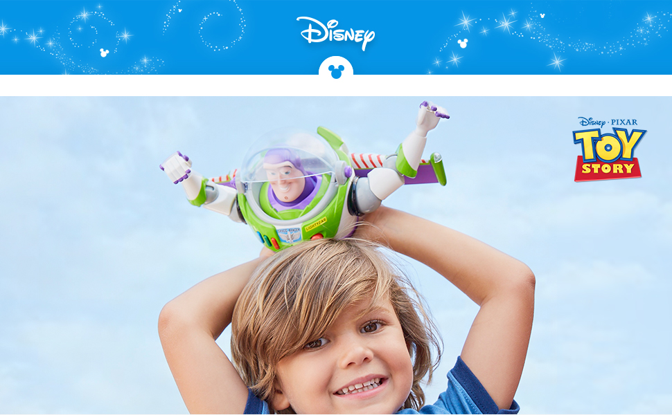 Disney company logo and little boy playing with Buzz Lightyear Talking Action Figure