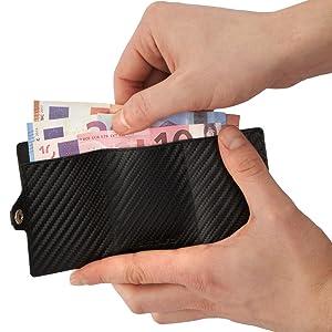 rfid schwarz kartenetui geldklammer slim jacobs iclip mit münzfach