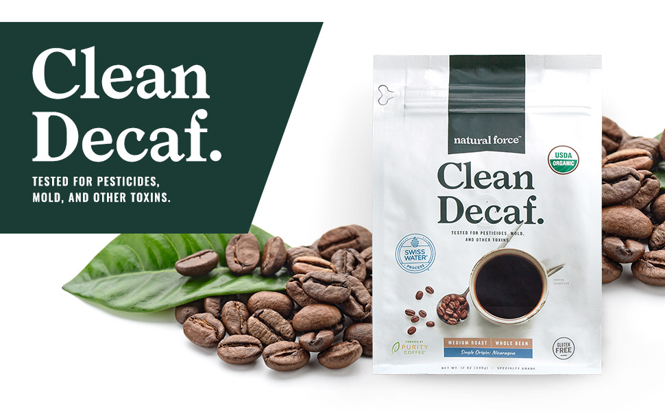 Amazon Com Natural Force Organic Mold Free Clean Decaf Coffee Low Acid Whole Bean Swiss Water Process Medium Roast Great Taste Aroma Tested For Toxins And Powered By