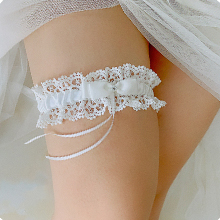 white garters for bride