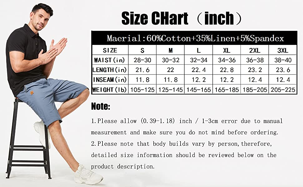 mens casual shorts size