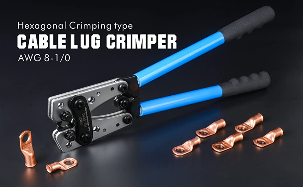 # 4 lugs  4 making battery cables # 8 to 4//0 gauges Cable Crimping Tool Plus 5