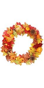 Thanksgiving Artificial Wreath, 15 inch DIY Fall Wreath Autumn
