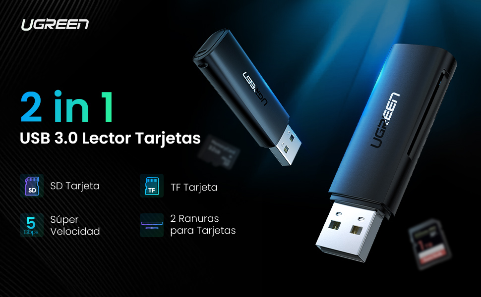 Lector de Tarjetas SD, UGREEN 5Gbps Lector Tarjeta USB 3.0, Adaptador Tarjeta SD a USB para SD SDXC SDHC MMC RS-MMC Micro SD TF Micro SDXC Micro SDHC ...