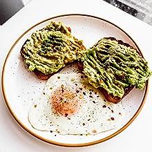 eggs and avocado on Mora Ceramics plates