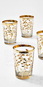 """3.5"""" Moroccan Gold Votive Holder, Set of 4 Reception Wedding Party Event Bulk Aromatherapy Spa Table"""