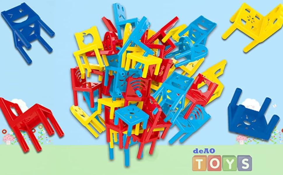 deAO Torre de Sillas Apilables Juego Tradicional de Apilar, Equilibrio y Habilidad Juego de Mesa Infantil para Toda la Familia: Amazon.es: Juguetes y juegos