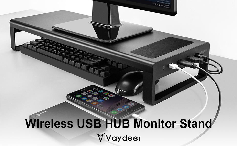 USB3.0 WIRELESS CHARGING ALUMINUM MONITOR STAND