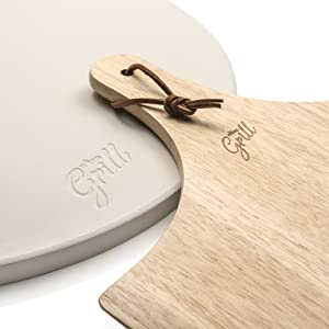 Hans Grill Round Pizza Stone BBQ Grill Baking Kettle Oven board Peel Pizzas
