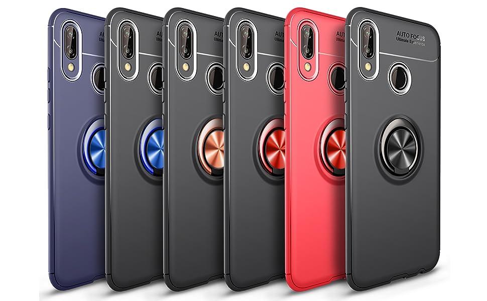 SORAKA Coque pour Huawei P20 Lite avec Anneau Rotatif à 360 degrés,Doux Slim Fit Housse en Silicone Coque Ultra-Mince avec Plaque métallique pour ...