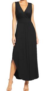 Sleeveless Deep V Neck Pocket Loose Split Long Maxi Casual Dresses