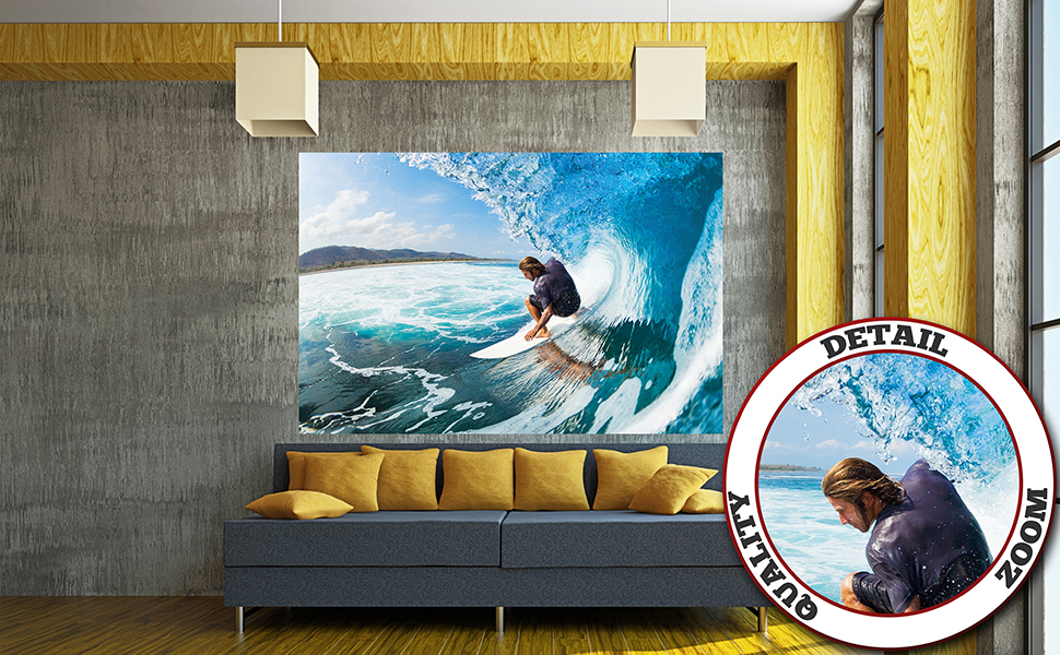 GREAT ART Mural de pared – surfero en olas – Foto tapiz decoración ...