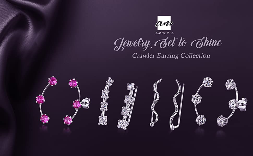 Amberta 925 Sterling Silver - Pair of Climber Earrings for Women - Crawlers