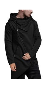 COOFANDY Men's Slim Fit Oblique Zipper Hoodie