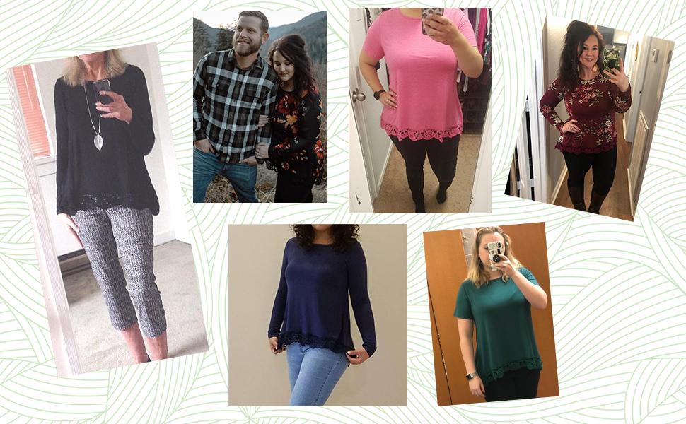 QIXING Women's Tops Short Sleeve Lace Trim O-Neck A-Line Tunic Blouse