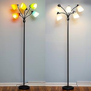 Brightech Medusa LED Floor Lamp - Multi Head Adjustable Tall Pole Standing Reading Lamp