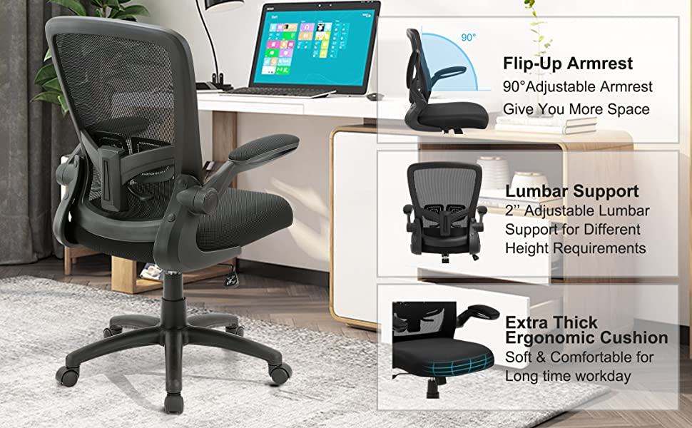 Office Chair Clearance Ergonomic Desk Chair With Adjustable Height Lumbar Support High Back Mesh Computer Chair With Flip Up Armrests Task Chairs For Home Office 300lb Executive Chair Kitchen