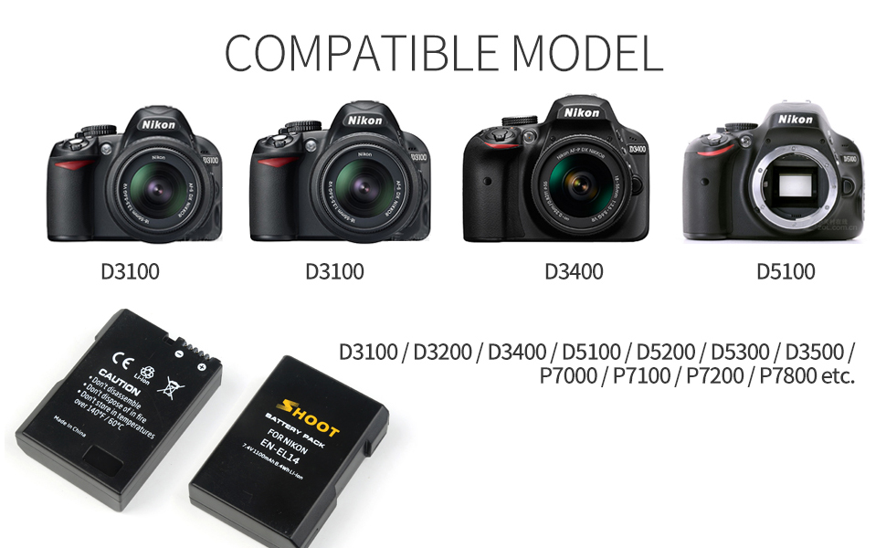 SHOOT Baterías EN-EL14 EN-EL14a de Repuesto (2-Pack) con Cargador ...