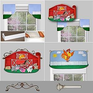DIY children's Big Red Barn window valance and wall decoration for children's room nursery decor