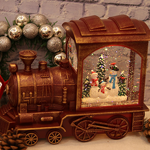 Christmas Train Snow Globe with Music & Timer, Lighted-up Battery Operated Glittering Train