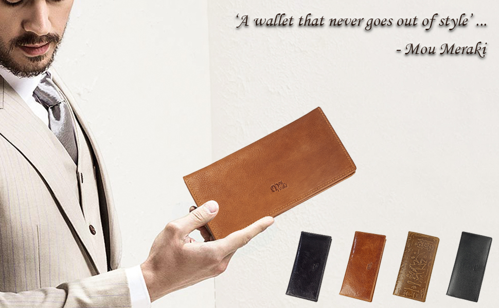 Genuine Leather RFID Blocking Long stylish Tall Rodoe Vintage Bifold Wallet for Men by Mou Meraki