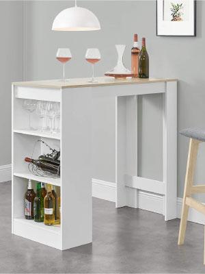En Casa Bancone Tavolo Alto Da Bar 110 X 50 X 103 Cm Penisola Cucina Con 3 Ripiani Bianco Effetto Rovere Amazon It Casa E Cucina