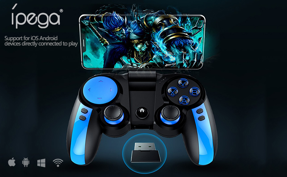 iPEGA PG-9090 Wireless 2.4G Double Gamepad Joystick Multimedia Game Controller Compatible IPhone8//XR//XS for Android Mobile Phone Tablet PC Android TV