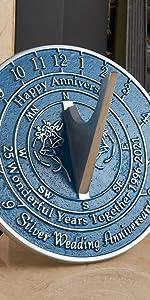 25th silver wedding anniversary sundial gift